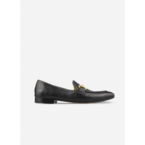Mara Bini Black Leather Loafer with Gold Bit Pumpz