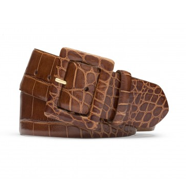 W.Kleinberg Embossed Crocodile Belt in Cognac