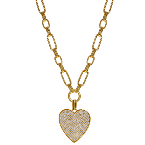 Janis Savitt Gold Chain with Heart Crystals