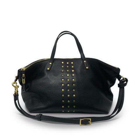 Kempton Devon Holdall Black leather gold studs Pumpz