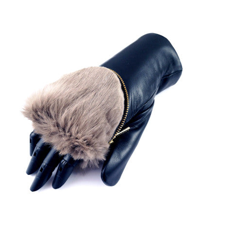 Aristide Fur Lined Leather Mittens