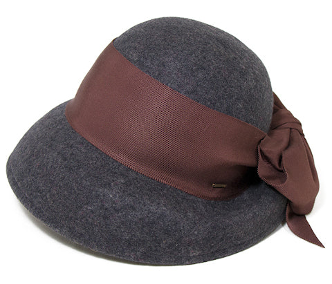 ca4la grey wool hat with brown ribbon side bow Pumpz