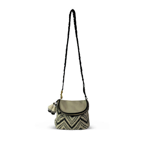 Kempton Black and White Woven Mini Windborne Crossbody Pumpz