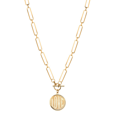 Janis Savit LOVE charm necklace gold Pumpz