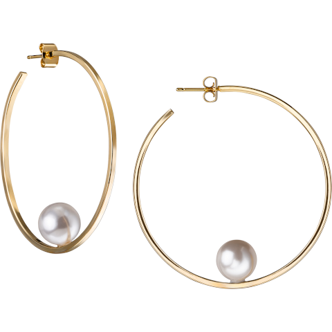 Janis Savit gold hoops with pearl Oprahs favorite Pumpz