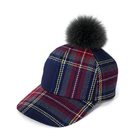 Ca4La plaid wool baseball hat with fur pom