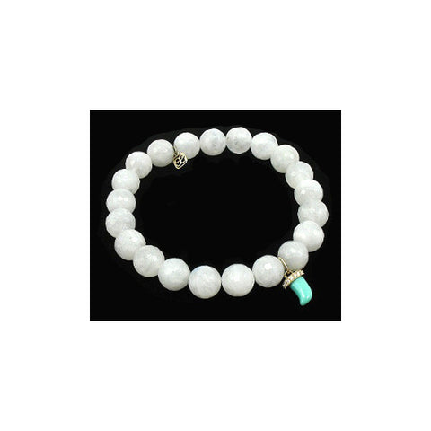 Sydney Evan Beaded Bracelet with Turquoise Horn Charm