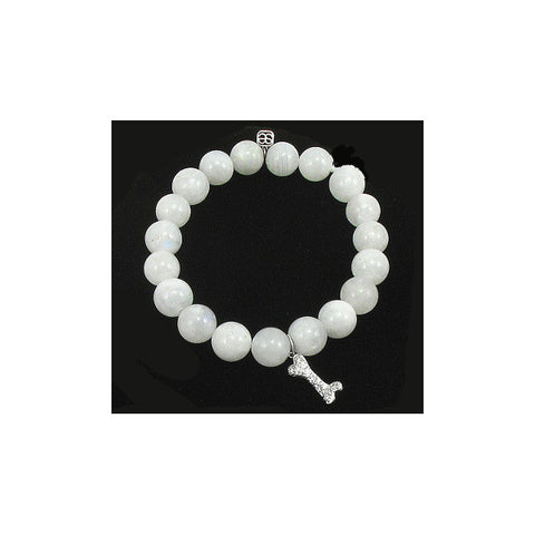 Sydney Evan Beaded Bracelet with Dogbone Charm