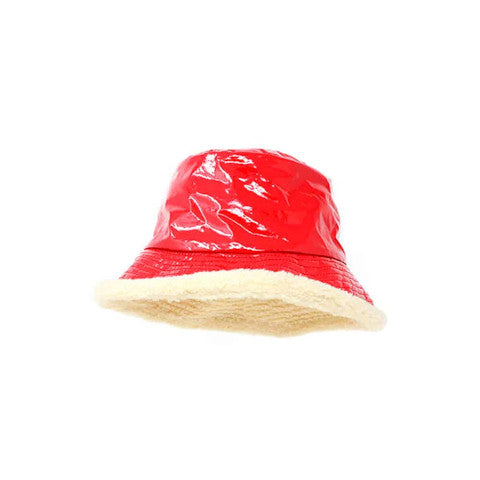 Grevi Red Patent Reversible Bucket Hat