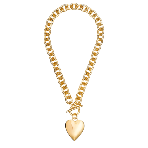 Janis Savitt Gold Circle Chain with Heart