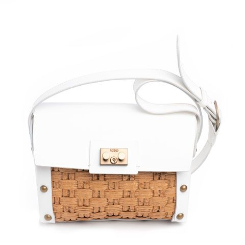 RODO white leather and wicker bag Pumpz