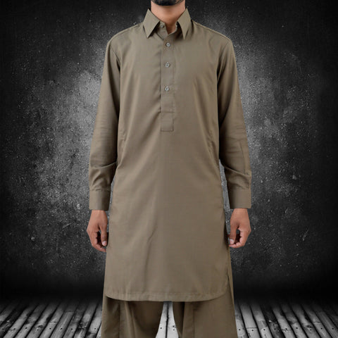 Men's Osprey Premium Plain Shalwaar Qameez in Brown