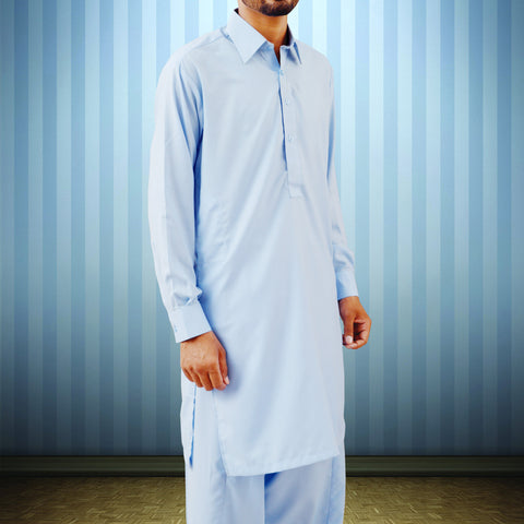 Men's Osprey Premium Plain Shalwaar Qameez in Sky Blue