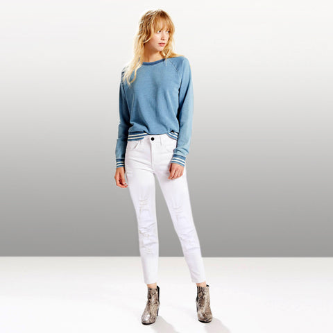 Ladies Original White Ripped Stretchable MO Jeans