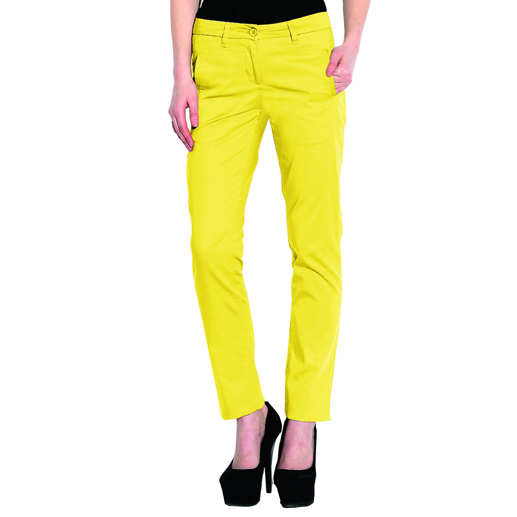 Osprey Premium Dual Color Cotton Pents for Women (Yellow/Off white)