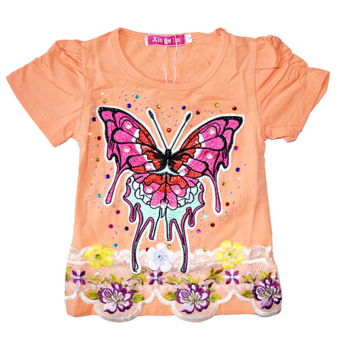 Kid's Adorable Floral Butterfly Shirt in Orange