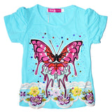 Kid's Adorable Floral Butterfly Shirt in Blue