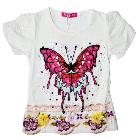 Kid's Adorable Floral Butterfly Shirt in White