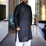 Men's OP Self Lined Black Kurta with White Shalwar
