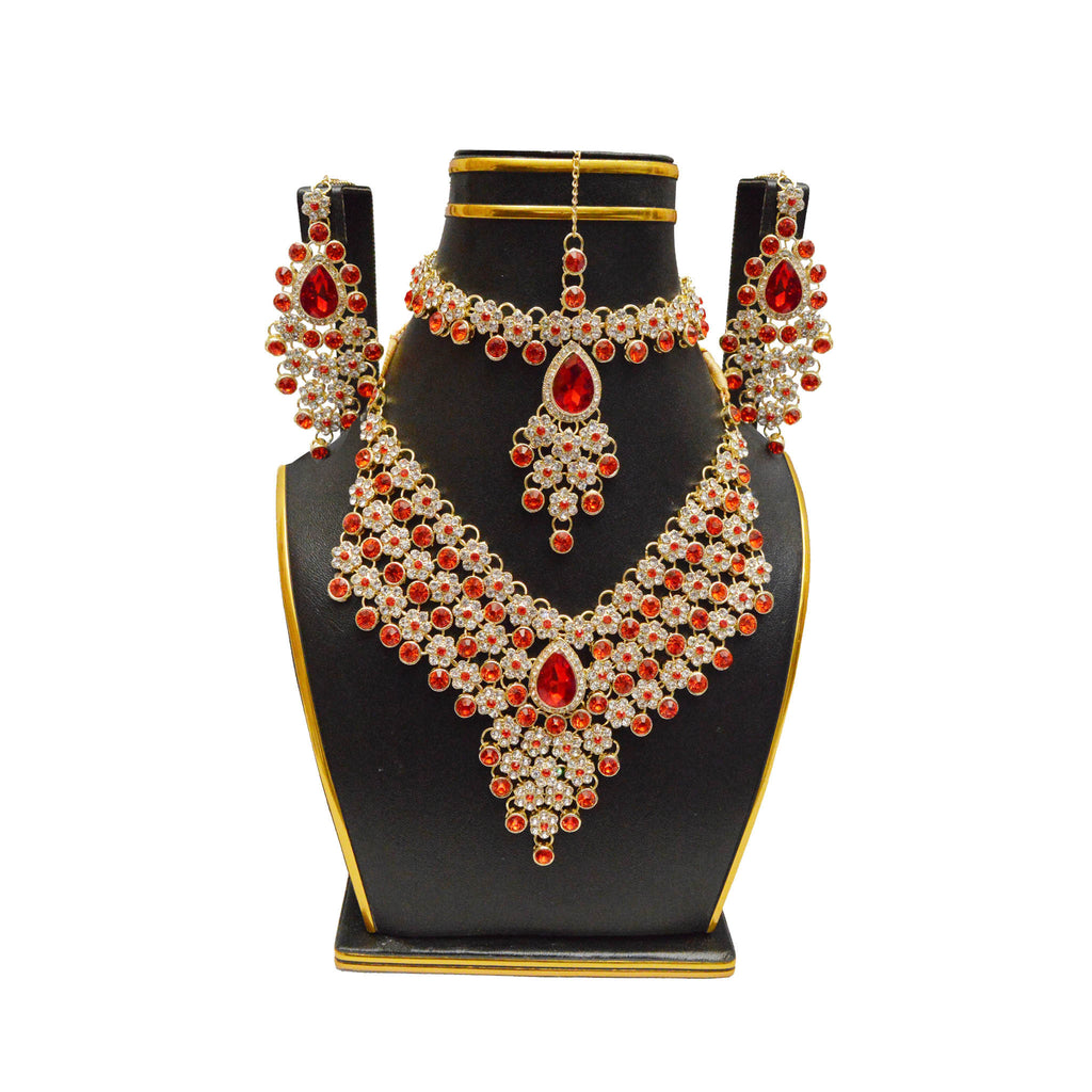 Artificial Jewellery Set with Earrings, Necklace, Bindiya & Matha patti