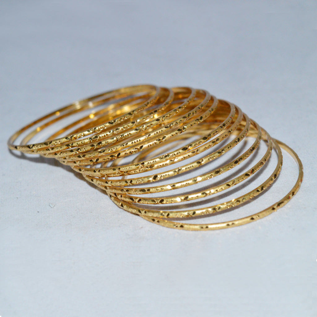 Set of 12 self textured Golden Bangles by All Well