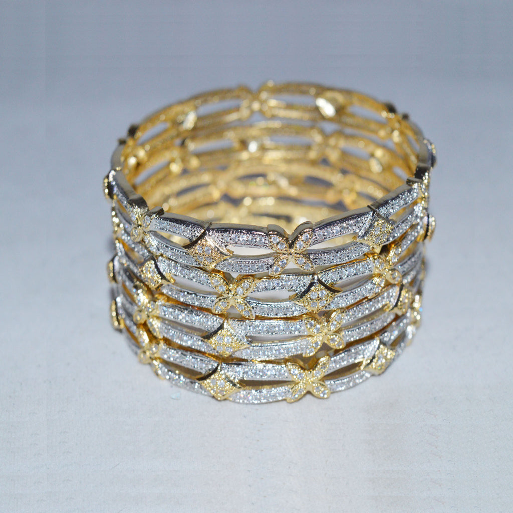 Set of 4 Silver Floral Bangles with Golden Inner