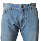 Men's Original Light Wash Ripped Knee MO Jeans