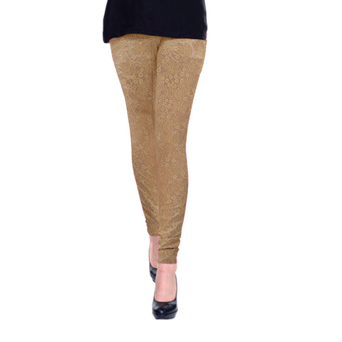 Ladies Original OP Brown Cotton Net Embroidered Tights
