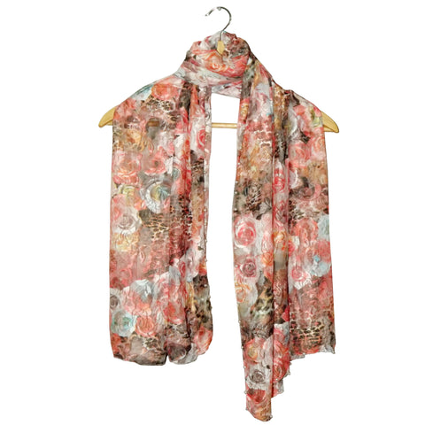 Net Digital Floral Printed scarf's Design-41