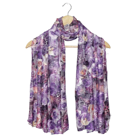 Net Digital Floral Printed scarf's Design-44