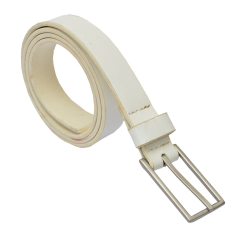 Ladies Original OP White Leather Belt