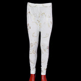 Kids White Funky Golden Designing Tights