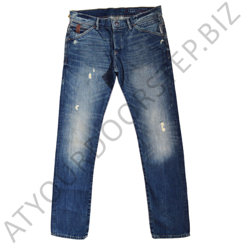 Men's Original EDC Regular Fit Light Ripped Blue Denim Jeans