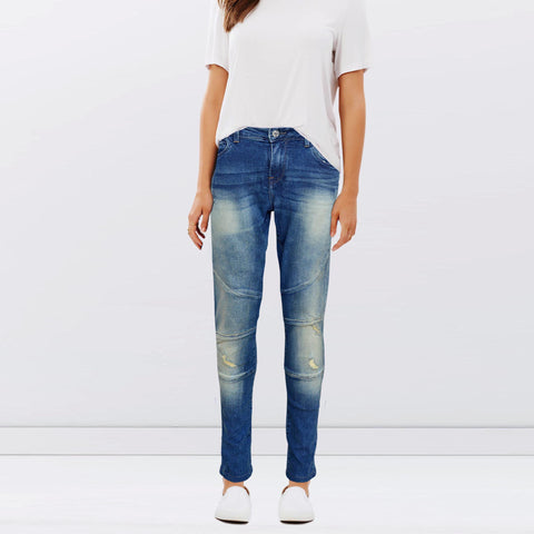Ladies Original Splash Denim Ripped Blue Jeans