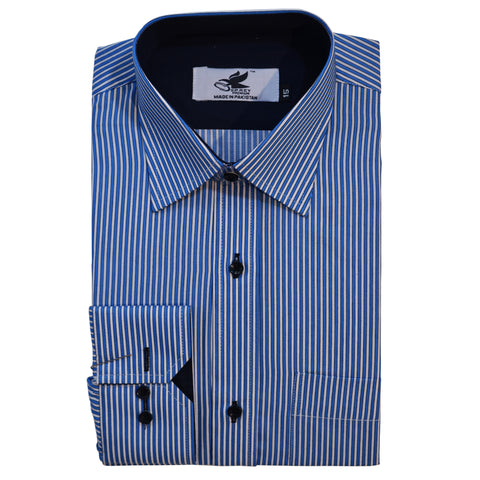 Men's Original Osprey Premium Dress Shirt in White & Blue Stripe 02