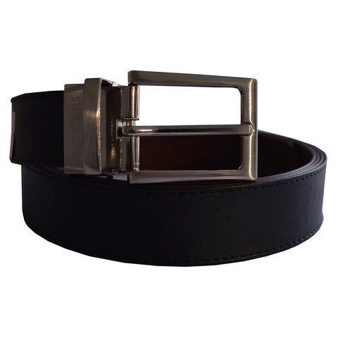 Men's OP Black/Brown Silver Turning Buckle Leather Belt 29