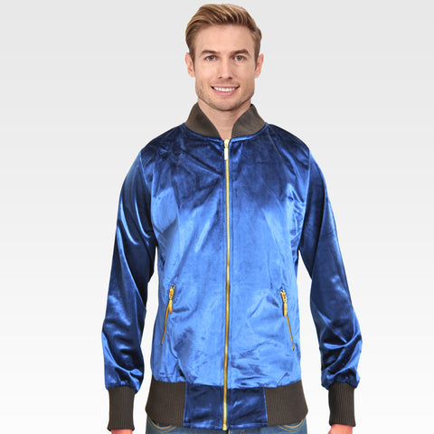 OP Royal Blue Velvet Zipper Jacket