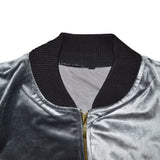 OP Silverish Grey Velvet Zipper Jacket