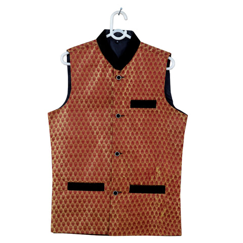 Men's OP Red and Golden Jamawar Waistcoat Design -08