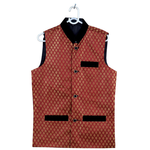Men's OP Red and Golden Jamawar Waistcoat Design -09