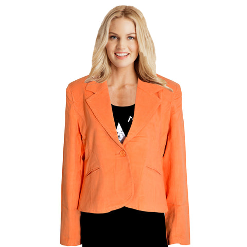 Ladies Original Clarisse Corduroy Coat in Light Orange