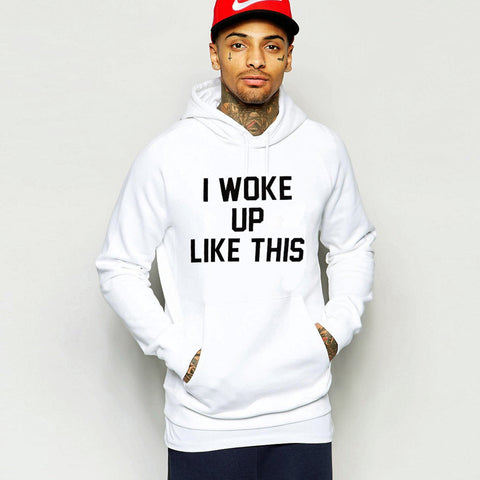"Men's White Parisian Hoodie ""I Woke Up like This"""