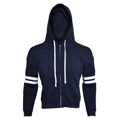 Men's League's Unisex Blue Hoodie with White Stripes