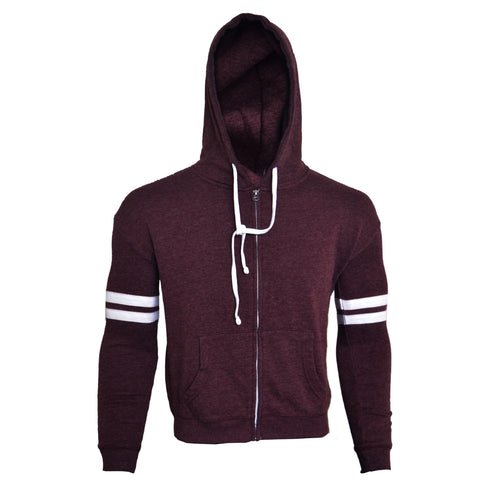 Men's League's Unisex Maroon hoodie with White Stripe