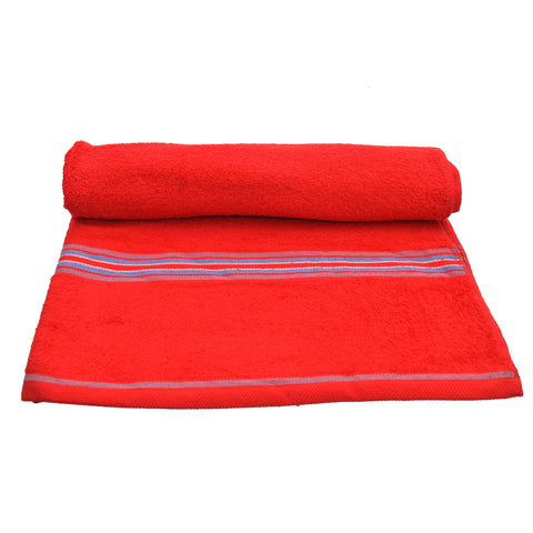 Elegant HC Bath Sheet in Red With Multi Stripe