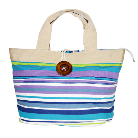 Ladies Soft Cotton Jeans Fabric Multi Stripe Bag