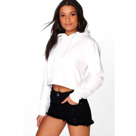 Ladies Megan Cropped Overhead Hoodie by Boohoo