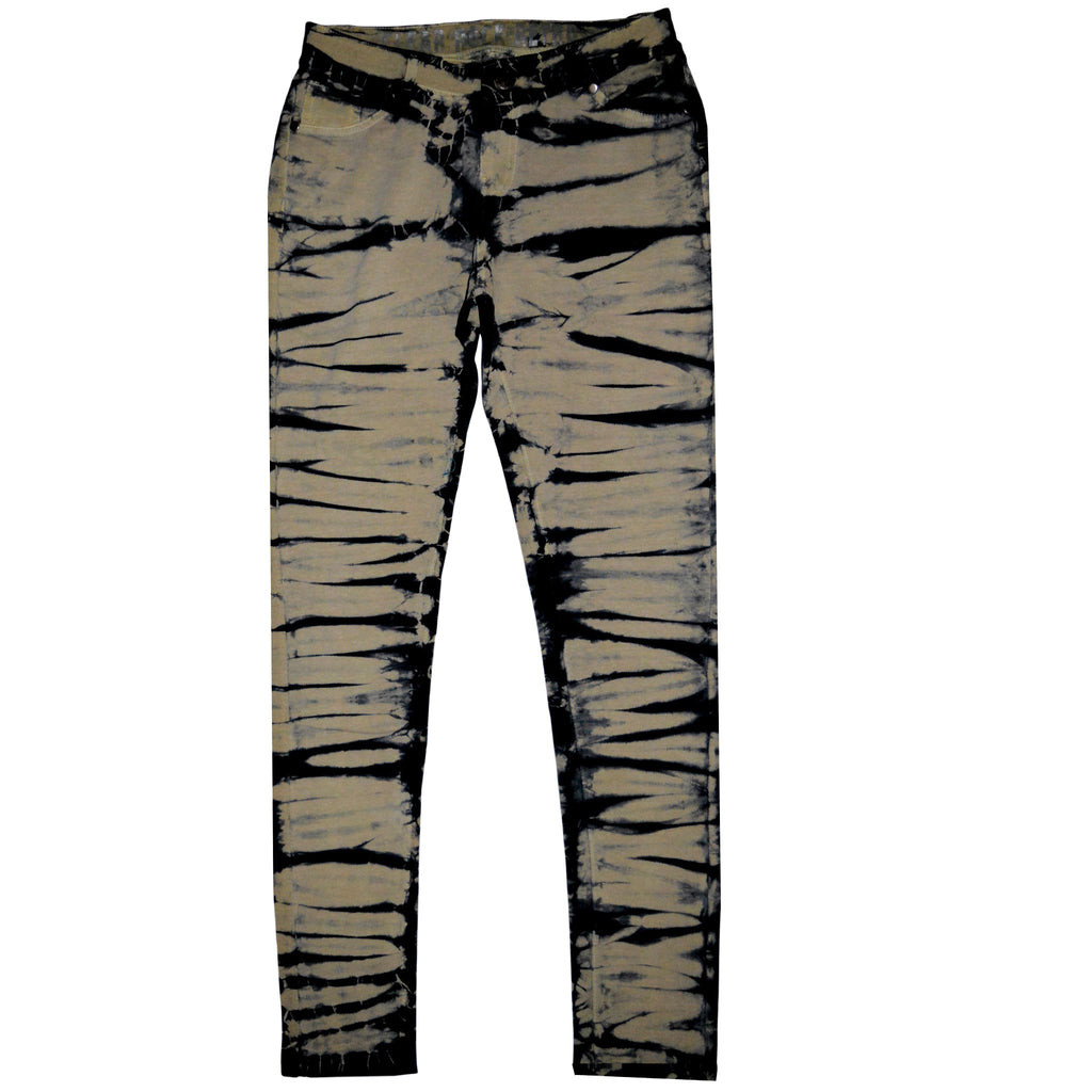 Lady's Clear Rock Charcoal Black With Camel Rash Style Jegging