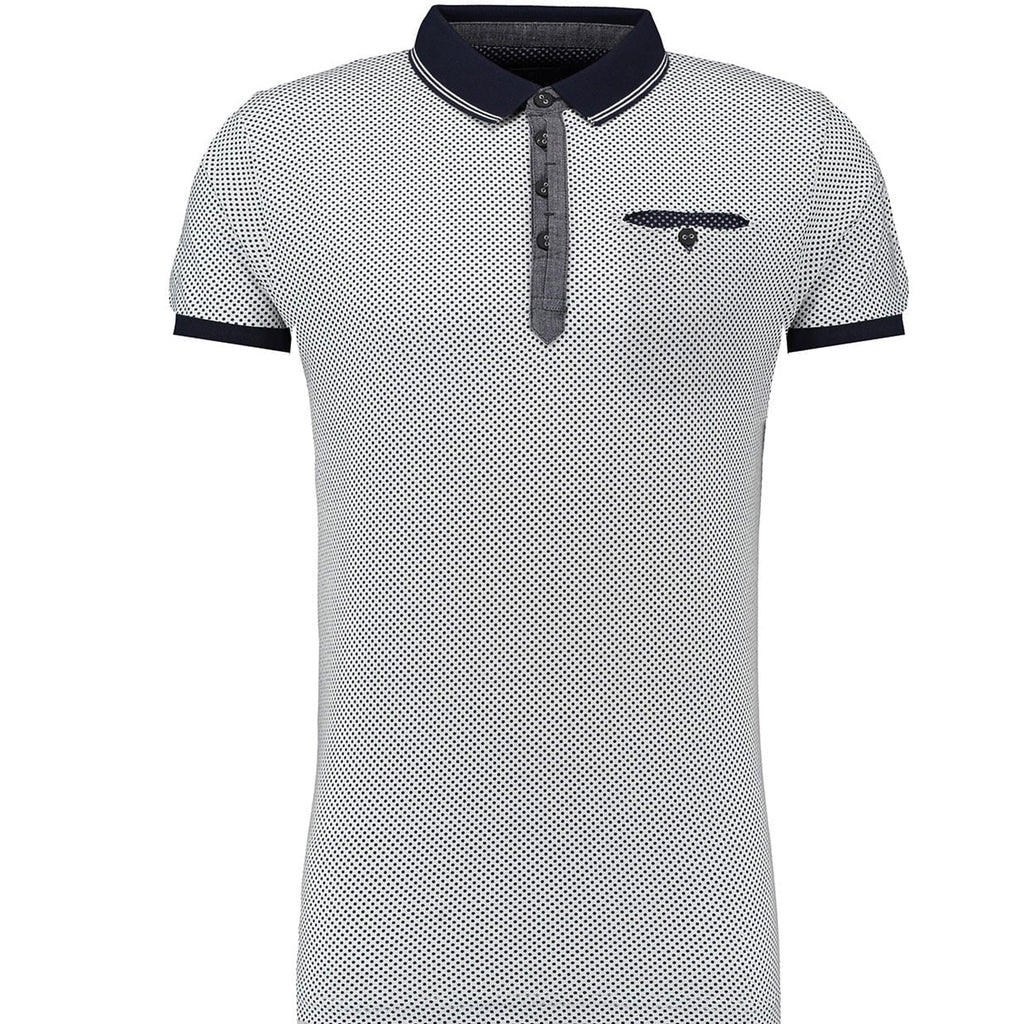 Men's original Twisted Soul White Polka Dot Polo