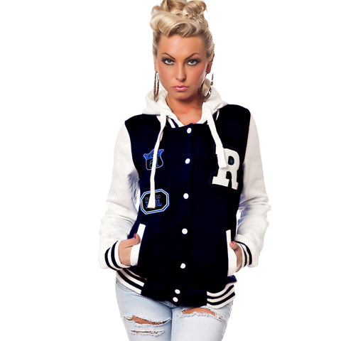 "Ladies Original Parisian Navy Blue Varsity 'B Grade' Hoddie with ""R"""